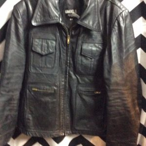 RETRO LEATHER JACKET FRONT POCKETS 1