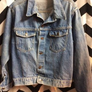 1960S CLASSIC ROEBUCKS DENIM JACKET DOUBLE CHAIN STITCH SELVAGE TRIM 1