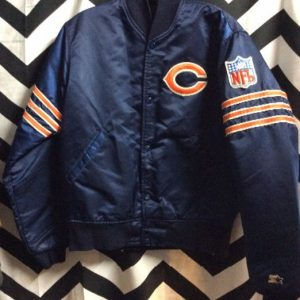 Satin NFL Jacket Chicago Bears Orange Strips Sleeves 4K 1