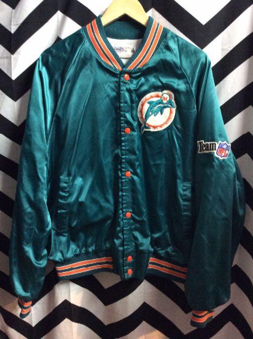 BASEBALL STYLE JACKET - SATIN - MIAMI DOLPHINS - TEAM NFL PATCH » Boardwalk  Vintage 4403943af