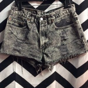 LEVIS DENIM CUTOFF SHORTS BLACK MARBLE WASH RED TAB #DOPE 1