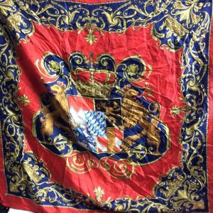 CLASSIC BAROQUE PRINTED SCARF W/ CREST made in italy 1