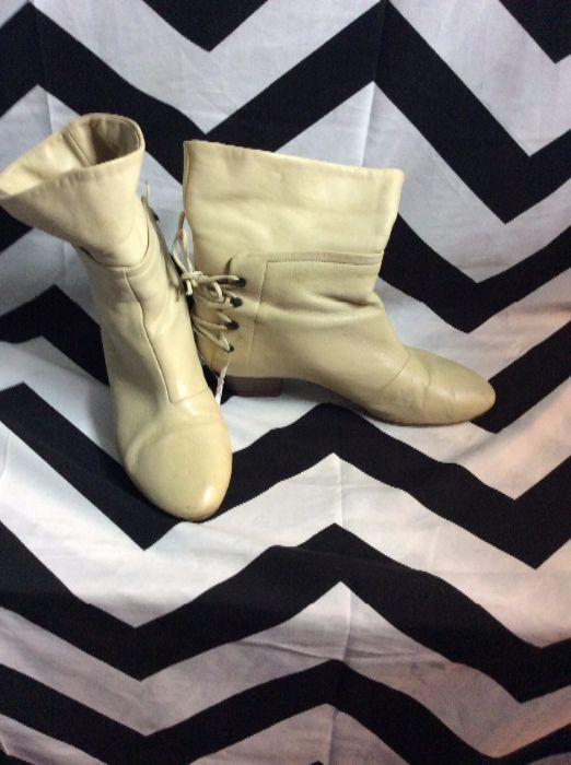 SUPER SOFT LEATHER BOOTIES LACE UP BACK 2