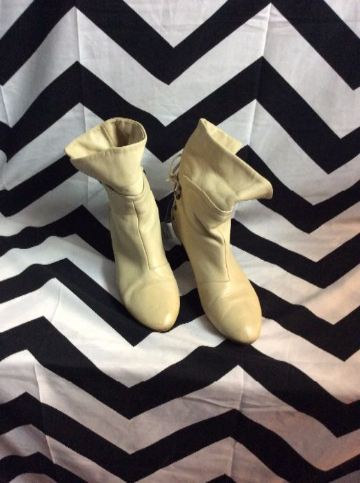 SUPER SOFT LEATHER BOOTIES LACE UP BACK 1