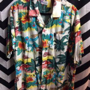 White hawaiian shirt w/ Floral Beach Scene 1