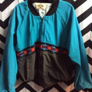 TEAL WESTERN STYLE JACKET THIN TWO TONED W/ AZTEC TRIM 1