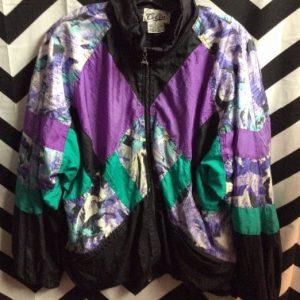 Black Purple Teal colorblock windbreaker with 80s pattern 1