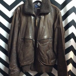 SUPER SOFT RETRO LEATHER BOMBER JACKET SHEARLING COLLAR 1