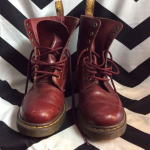 Red Leather DR MARTENS Air Wait High Top 1