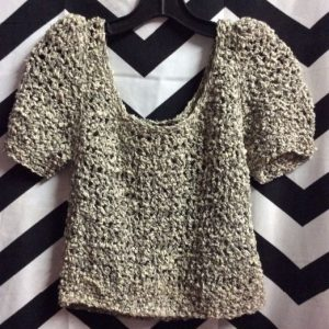 LITTLE CROPPED OFF SHOULDER KNIT SWEATER TOP 1