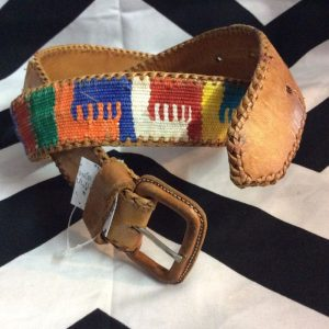 BRIGHT COLORED LEATHER & TEXTILE BELT 1