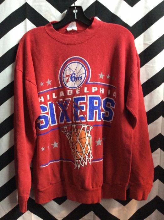 New overstock item Vintage Philadelphia 76ers Hoodie Sweater Retro Logo
