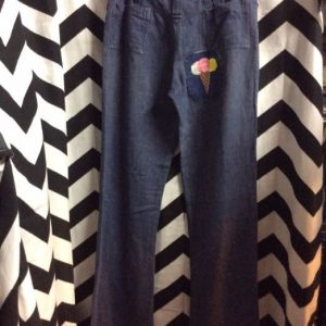 DENIM BELLBOTTOMS WITH ICE CREAM PATCH AS IS 1