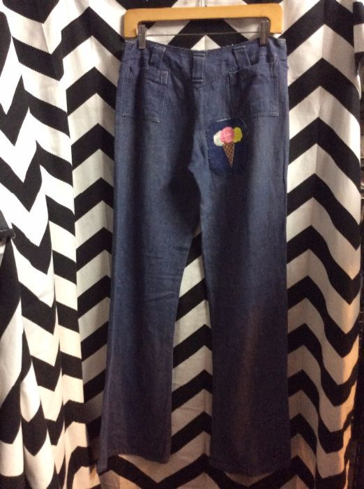 product details: DENIM BELLBOTTOMS WITH ICE CREAM PATCH AS IS photo