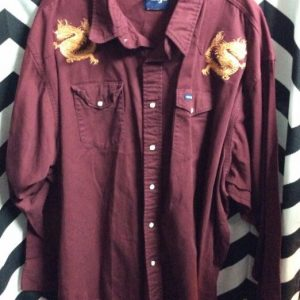 LS BD SOLID WESTERN SHIRT EMBROIDERED DRAGON 1