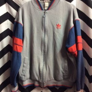 Retro Track Style Gray w/Red Blue Trim Cotton ADIDAS Jacket 1