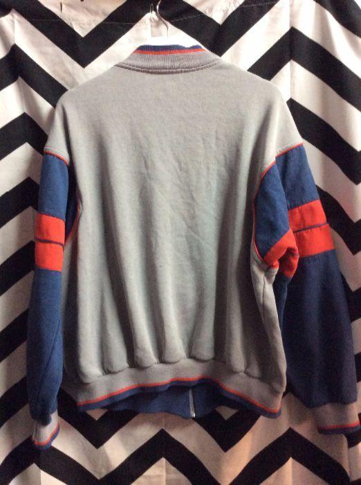 Retro Track Style Gray w/Red Blue Trim Cotton ADIDAS Jacket 2