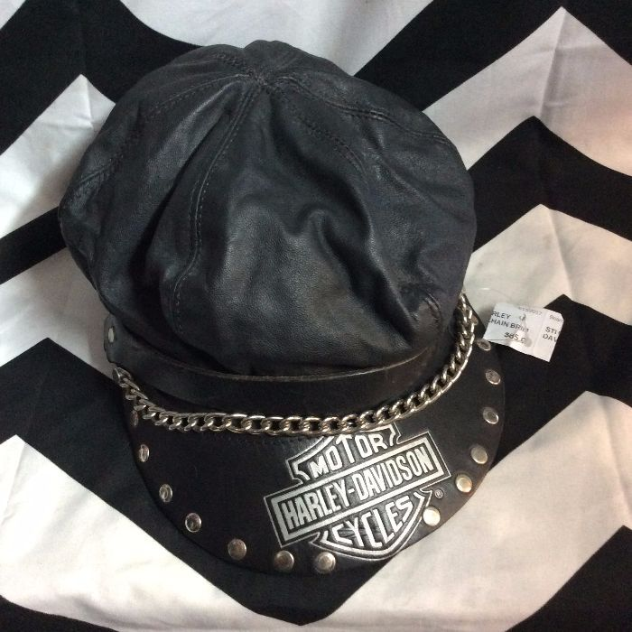 HARLEY DAVIDSON HAT - LEATHER - STUDDED W CHAIN BRIM » Boardwalk Vintage f0de3b6038f