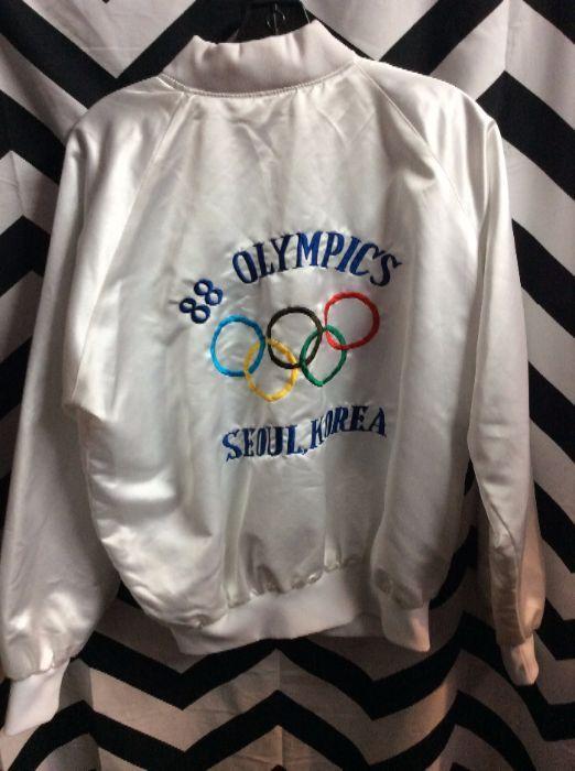 VINTAGE BOMBER JACKET SATIN 1988 OLYMPICS SEOUL, KOREA EMBROIDERED DESIGN FULL BACK