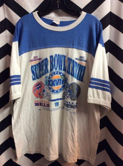 RETRO RINGER T-SHIRT - SUPERBOWL XXVIII - BUFFALO BILLS VS DALLAS COWBOYS » Boardwalk  Vintage 19f9d0bf7