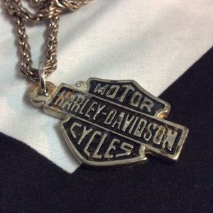 HARLEY DAVIDSON OXIDIZED LOGO PLAQUE NECKLACE FANCY CHAIN 1