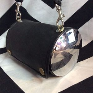 RUBBER & CHROME BARREL PURSE 1