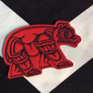 EMBROIDERED PATCH- BEAR NORTH WEST INDIAN ART RED BLACK 1