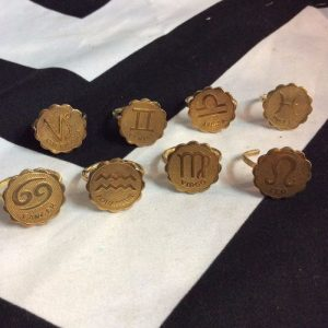 *handmade* BRASS ZODIAC MEDIALLION RING *un-plated 1