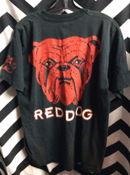 T Shirt Red Dog Beer Full Front Back Graphic Boardwalk Vintage