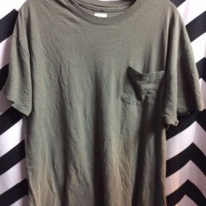 T SHIRT PLAIN OLIVE GREEN FRONT POCKET SOFTY 1