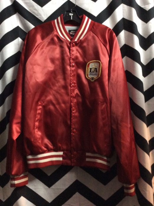 BASEBALL STYLE JACKET - SATIN - LA ANHEUSER-BUSCH - FRONT CHEST PATCH -  FULL BACK SCREEN PRINT