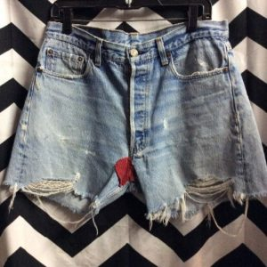LEVIS Cutoff Vintage 501 Red Tab Classic Washed Blue red Patch 1