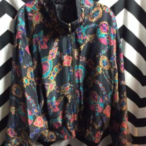 SILK ALLOVER JEWEL & CHAIN PRINTED BOMBER JACKET 1
