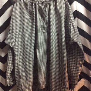 LS GINGHAM TENT DRESS HIGH BUTTON COLLAR 1