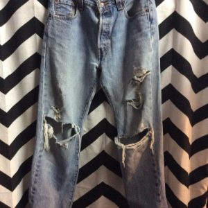 Levis 501 Washed Blue Button Fly Distressed Knee Holes 30x32 1