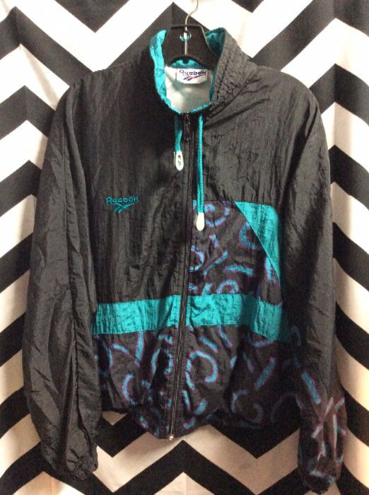 d63ad0e17fb18 RETRO REEBOK WINDBREAKER JACKET - ZIP-UP - HORIZONTAL COLOR BLOCK STRIP