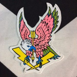STICKER- Vinyl 1980s NEON PINK EAGLE & LIGHTNING BOLT 1