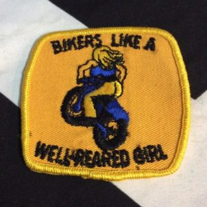 PATCH- WELL- BIKERS LIKE A WELL REARED GIRL 1970s *OLD STOCK 1