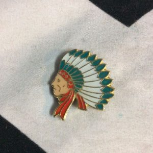 BW PIN- SIDE PROFILE OF INDIAN IN HEADDRESS 2