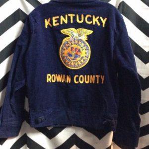 Blue Corduroy Kentucky Rowan County Embroidery Jacket 1