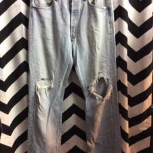 LEVIS 501 Red Tab Bleach Washed Distress Ripped Knees 1