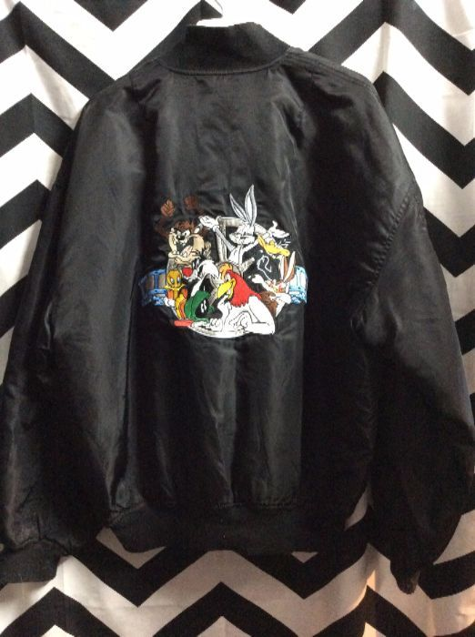 6534096a8a BOMBER JACKET – ZIP-UP – LOONEY TUNES – EMBROIDERED WARNER BRO CARTOON  CHARACTER FULL BACK