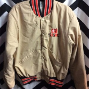 Tan Poly button up jacket with Brown Orange trim 1