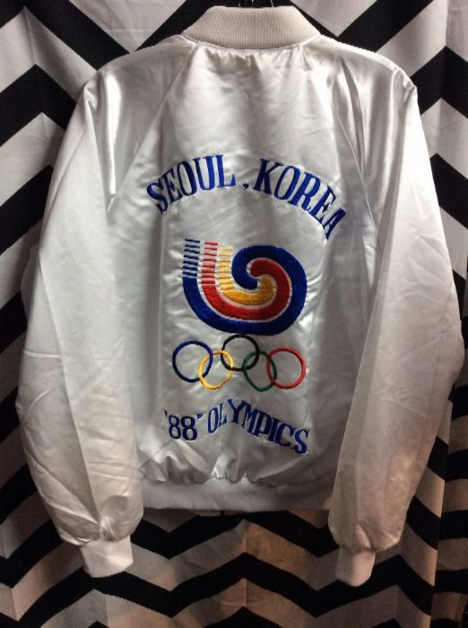 1988 BOMBER JACKET SATIN INVADERS JOHN 3:16 OLYMPICS IN SEOUL, KOREA EMBROIDERED DESIGNS