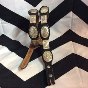 BELT LEATHER & SILVER ENGRAVED CONCHOS *missing buckle 1