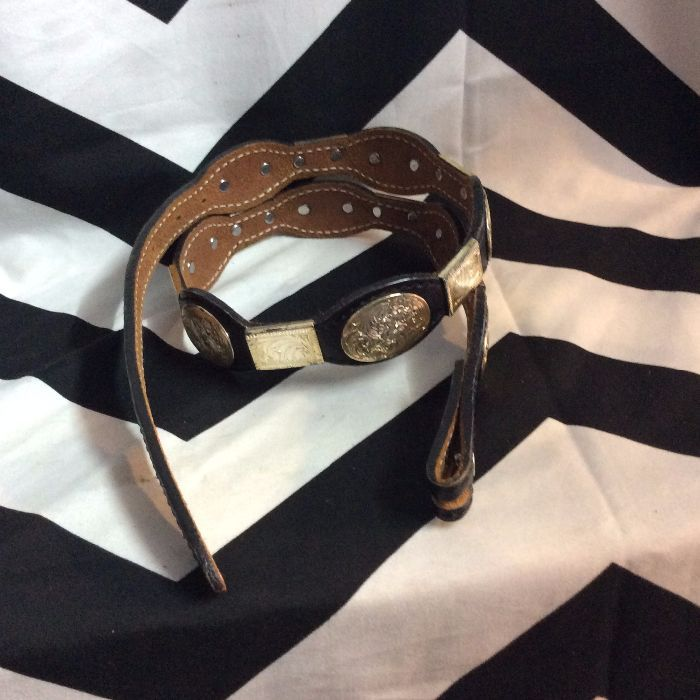 BELT LEATHER & SILVER ENGRAVED CONCHOS *missing buckle 2
