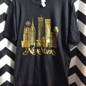 T SHIRT NEW YORK CITY SCAPE GRAPHIC METALLIC 1