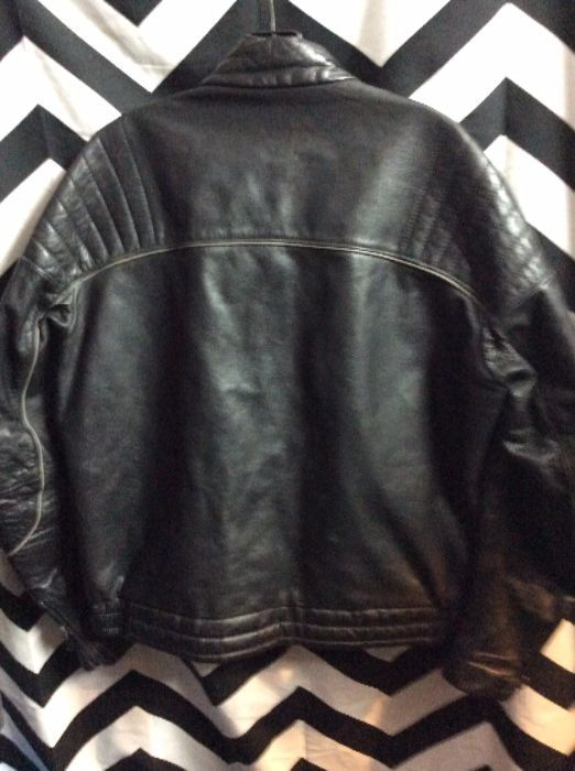1970S LEATHER MOTORCYCLE CAFE RACER JACKET BMW LOGO 76 AMERICAN FLAG PATCH 2