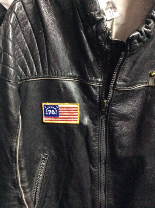 1970S LEATHER MOTORCYCLE CAFE RACER JACKET BMW LOGO 76 AMERICAN FLAG PATCH 3