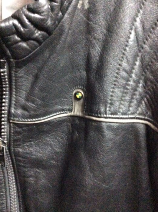 1970S LEATHER MOTORCYCLE CAFE RACER JACKET BMW LOGO 76 AMERICAN FLAG PATCH 4